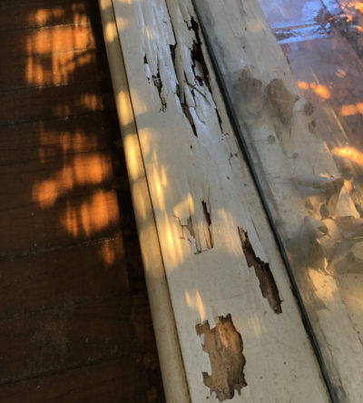 Termite damage on interior wood window trim.